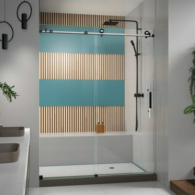 DreamLine Enigma-X 60 x 76 Single Sliding Frameless Shower Door with Clearmax™ Technology Finish: Tuxedo #framelessslidingshowerdoors