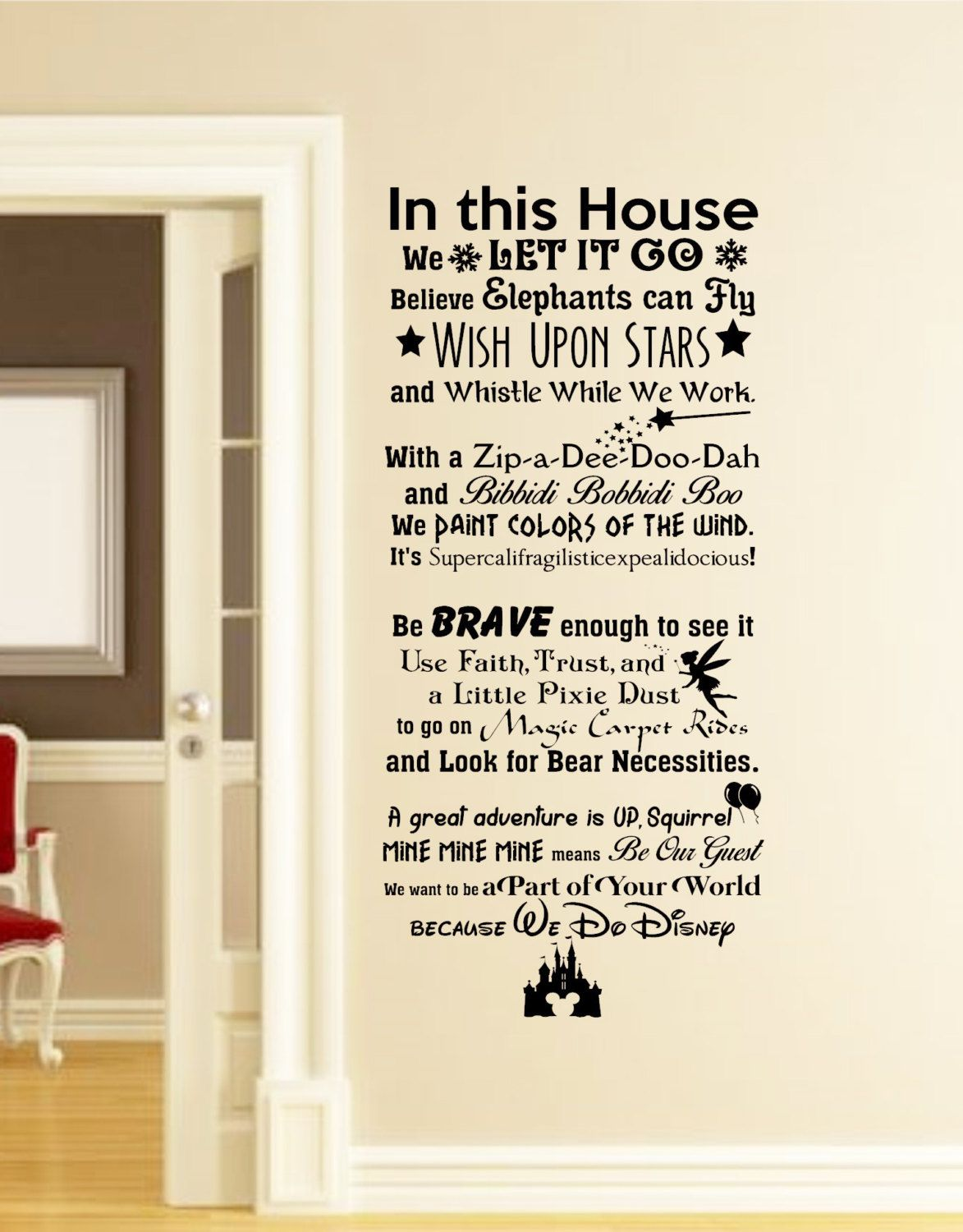 in this house we do disney wall decal disney wall quotes. Black Bedroom Furniture Sets. Home Design Ideas