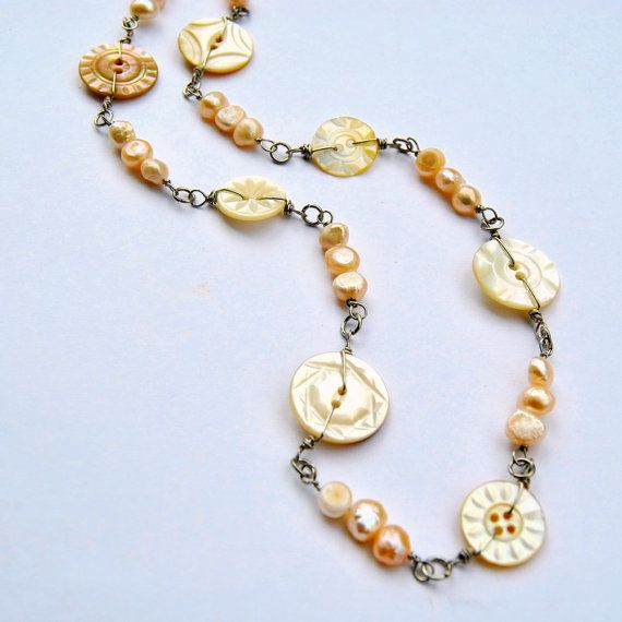 Button Necklace Carved Antique Button by AntiqueButtonJewelry,