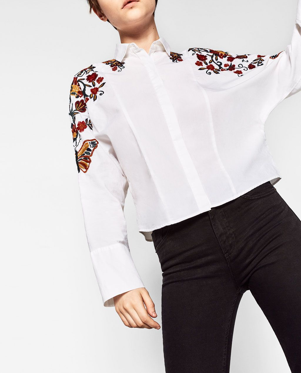 Women Long Sleeve White Cotton Country Flower Embroidered Shirts Vintage  Cardigan Korean Fashion Chemise Turn-