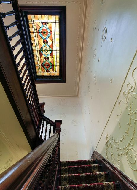 Gates Avenue Brooklyn Victorian interior style stairs stained glass window by…
