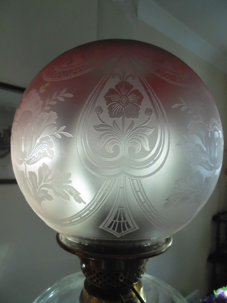 Fine quality victorian etch global cranberryclear oil lamp shade fine quality victorian etch global cranberryclear oil lamp shade victorian oillamps mozeypictures Image collections