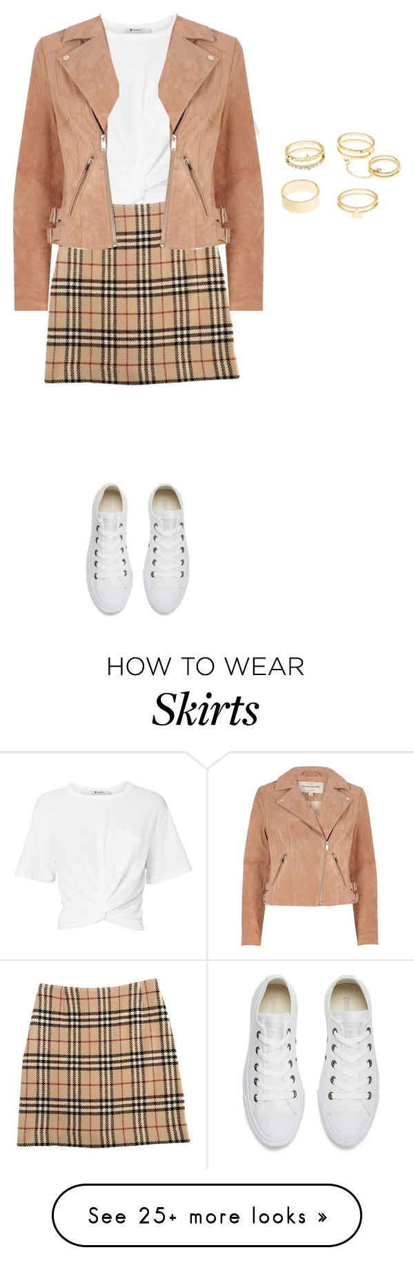 """""""Tartan skirt"""" by dazzlers on Polyvore featuring T By Alexander Wang, Burberry, River Island, Charlotte Russe and Converse"""
