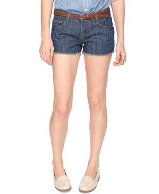 Frayed Destroyed Denim Shorts w/Embroidered Belt