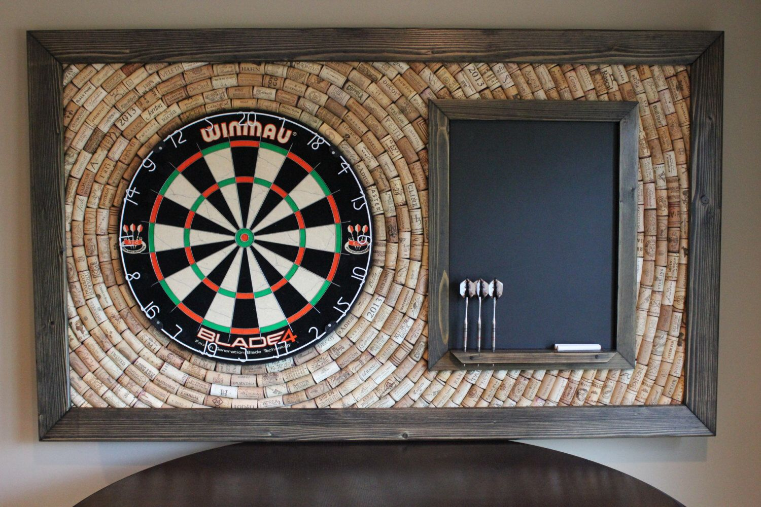 wine cork dartboard backer with scoreboard and dart storage | game