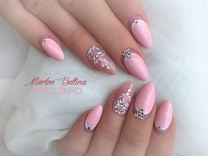 Fancy Light Pink Acrylic Nails With Stunning Nail Art And Rhinestone