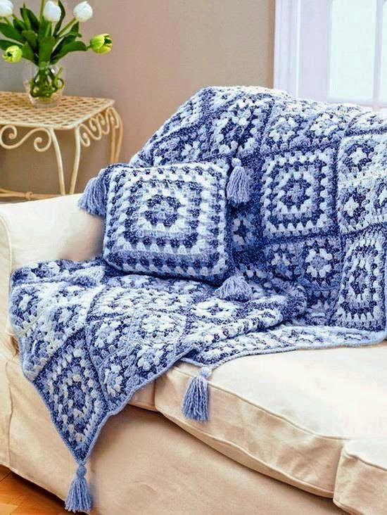 Tecendo artes em crochet manta e almofada para o sof - Cobertor para sofa ...