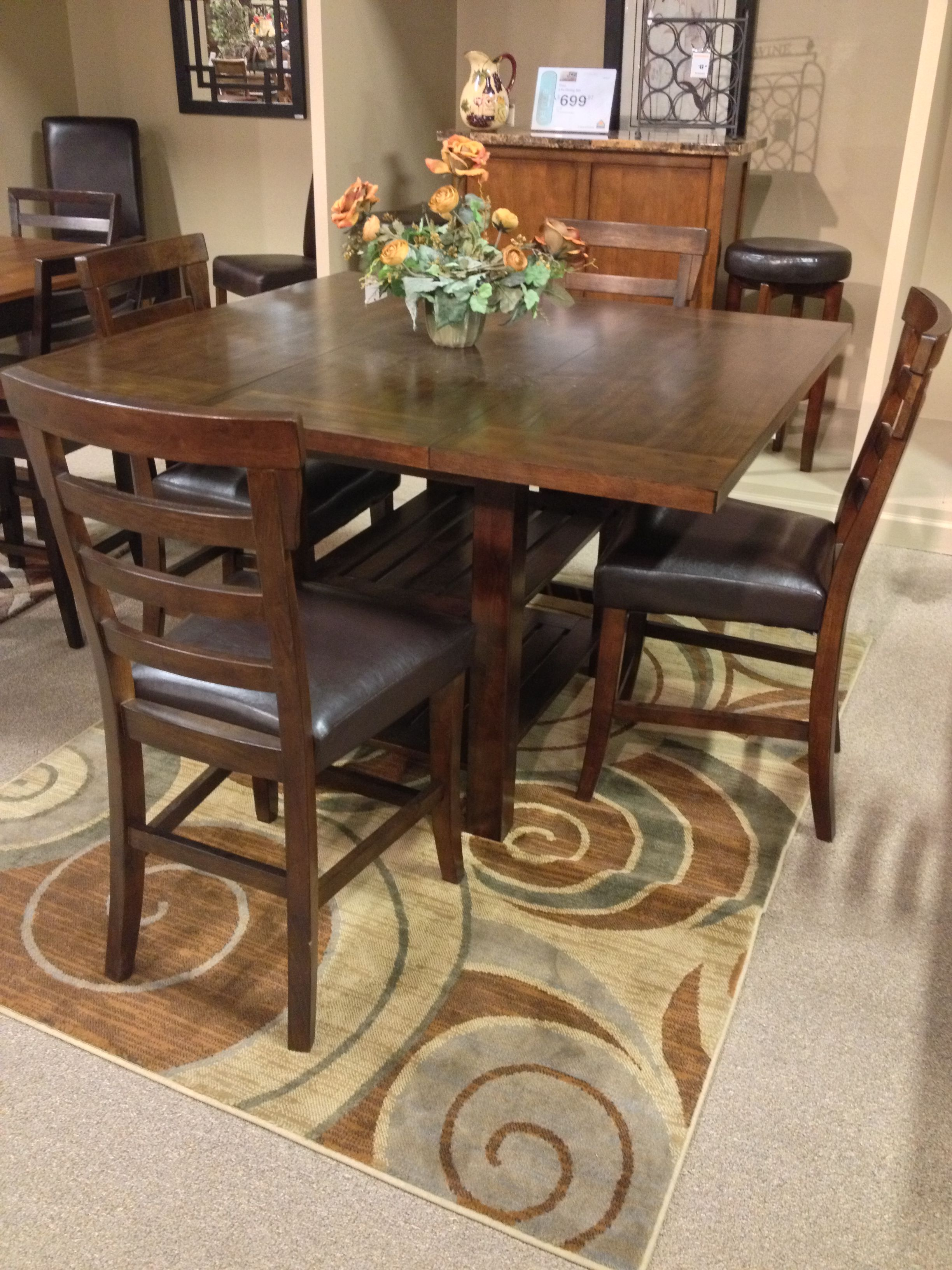 Pinderton 5 piece dining room includes dining room counter ext table upholstered barstool x 4 at your ashley furniture homestore in tricities