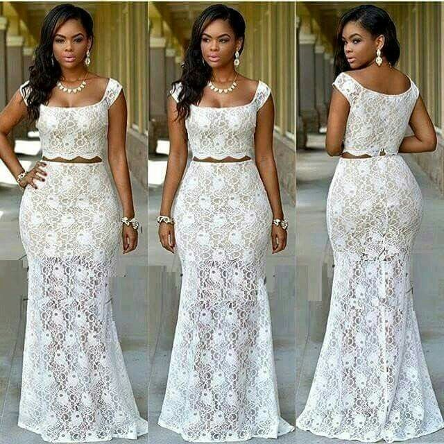 Ankara Lace Croptop African Prom Dresses African Fashion