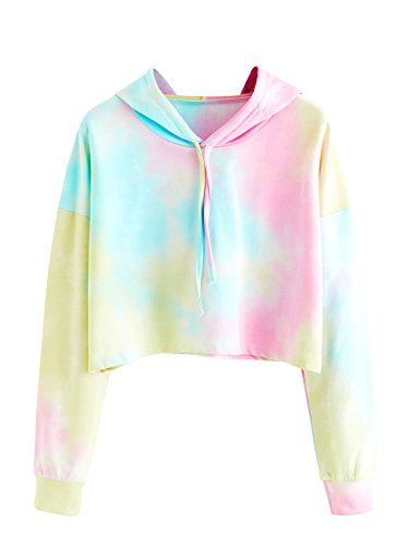5ed86d21fabef SweatyRocks Womens Sweatshirt Pullover Crop Hoodie Tie Dye Long Sleeve Shirt  Multicolor One Size    Learn more by visiting the image link.