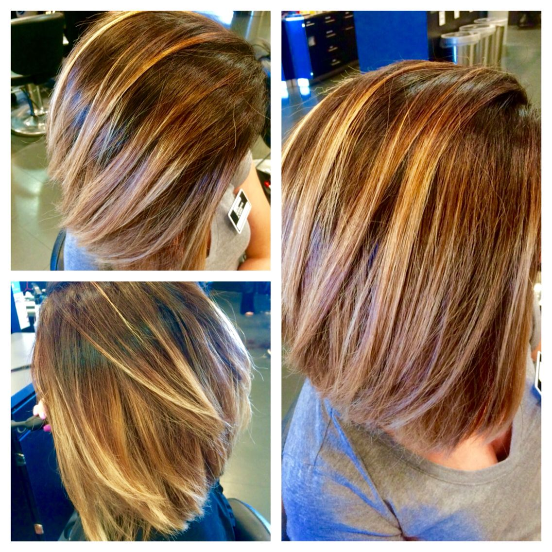 Balayaged ombré on this adorable short cut! Done by Carly Cammisa