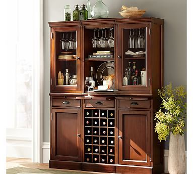 Dining Room Walls 6 Piece Modular Bar Wall Unit 2 Wood Door Cabinet 1 Wine Grid
