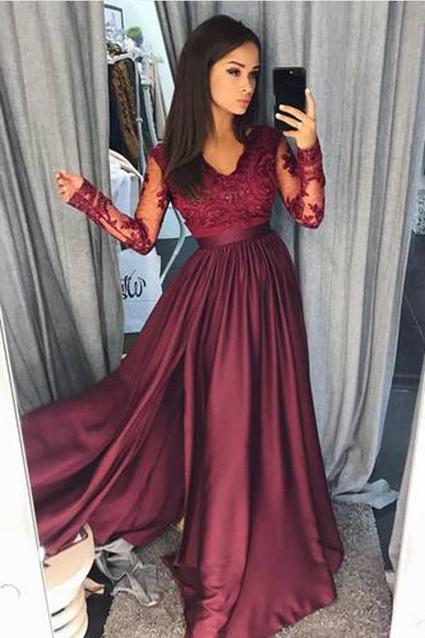 Long Sleeves Prom Dresses, Party Dresses A Line, Long Party