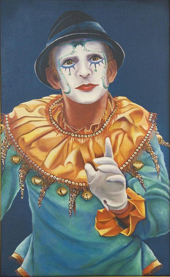 Mime II ~ acrylic on canvas ~ by Liz Hutchinson ~ clown