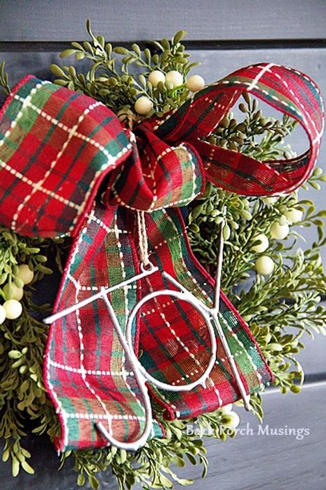 A Hearthside Christmas - Back Porch Musings - very small wreaths etc hung on buffet door