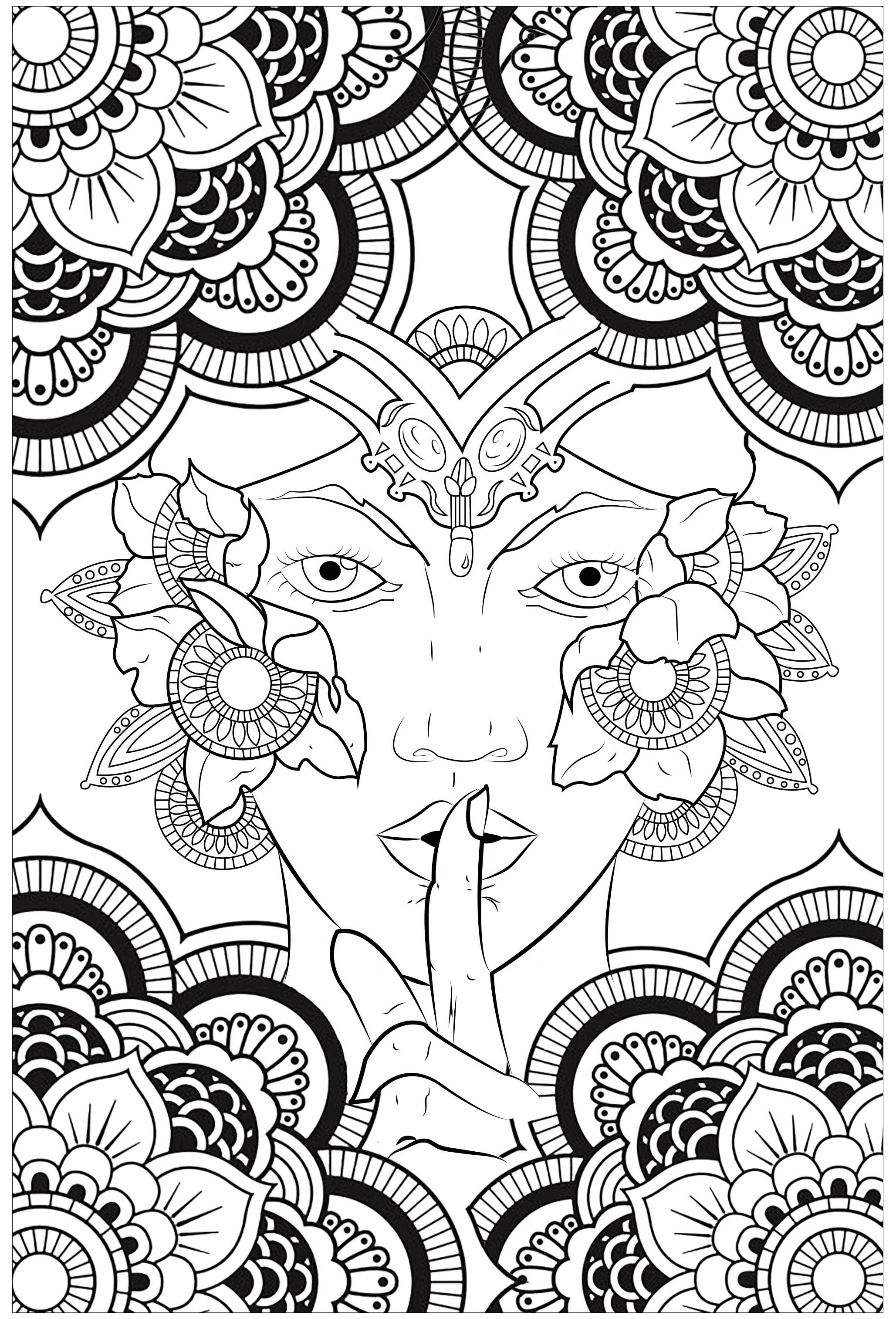 Silent Woman Zen And Anti Stress Coloring Pages For Adults