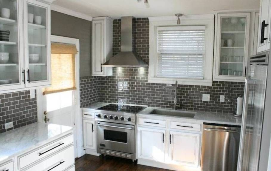Kitchen Gl Subway Tile Backsplash Black In And