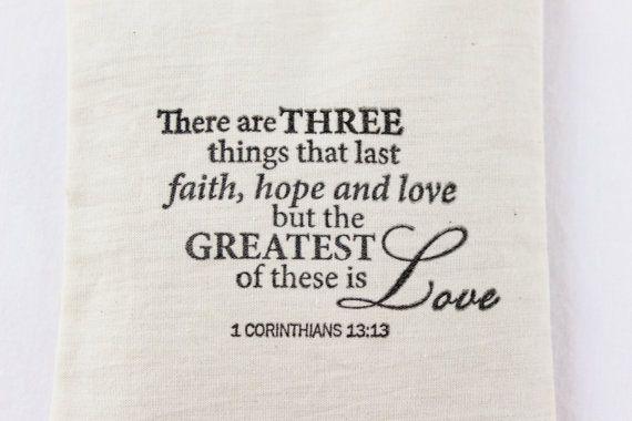Faith Hope Love Lavender Sachet 1 Corinthians 13 Verse Wedding Favor
