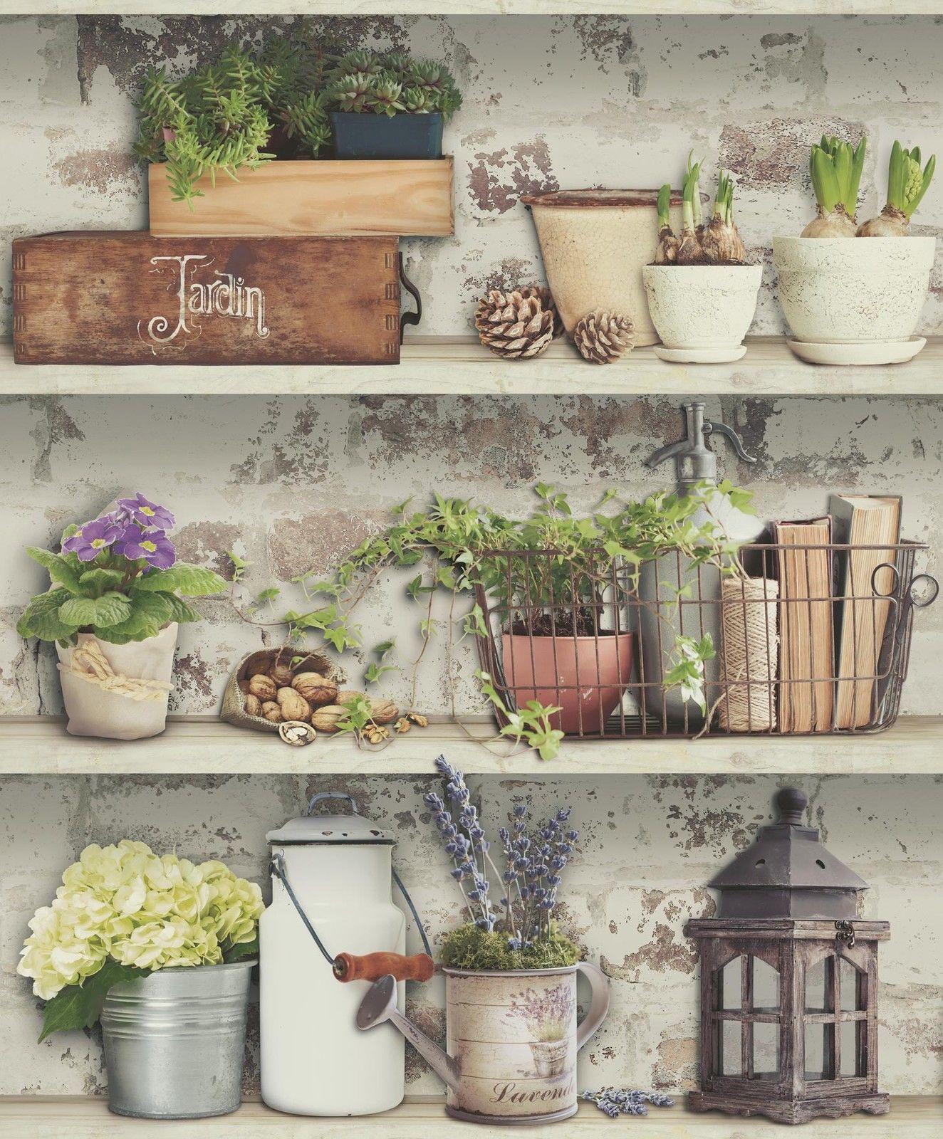Country Kitchen White Brick Wall Designer Feature Vinyl