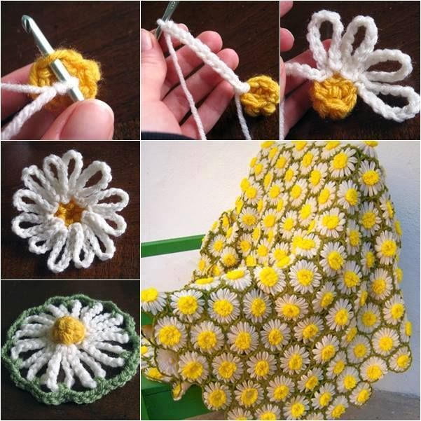How to DIY Crochet Vintage Daisy Motif Step by Step | Vendimia ...