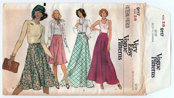 Bias Flared Skirt, Women\'s Sewing Pattern, Misses Waist Size 28 ...