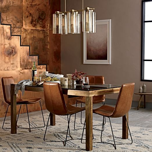 For Our Sloan Dining Table, We Took The Versatile Silhouette Of Our Box  Frame Styles And Gave It A Solid Mango Wood Base For A Rustic Touch.