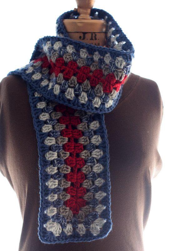 Winter Scarf Pattern Crochet Granny Square By Chocolatedogstudio