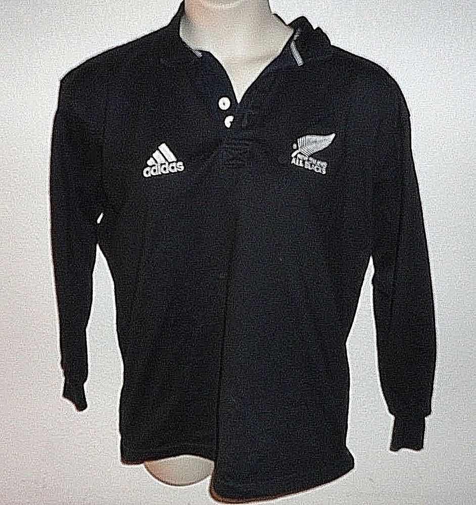 e95aca3a585 EMBROIDERED New Zealand ALL BLACKS XL Adidas Rugby Jersey Long Sleeve   Adidas