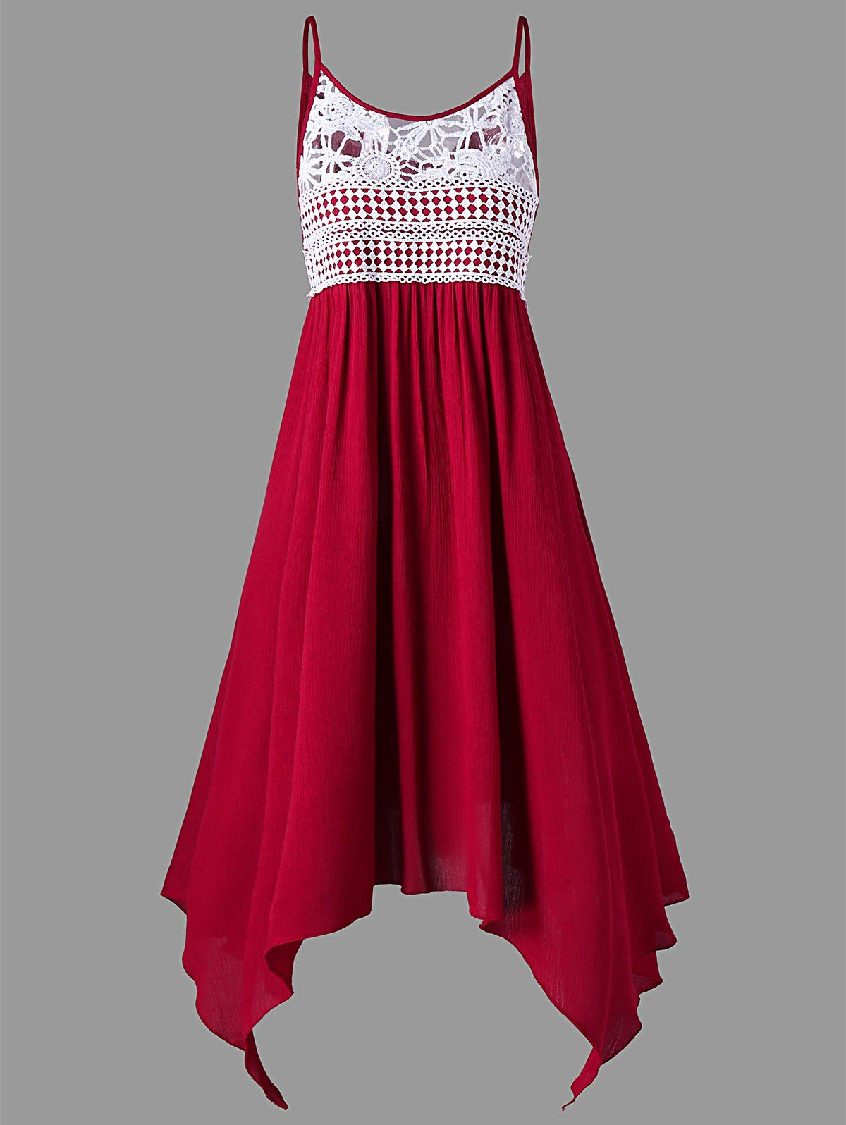 Lace panel plus size asymmetrical slip dress prom dresses rosegal