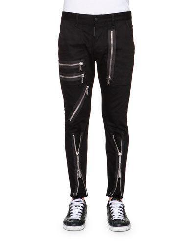 72efc4a0962997 N3UVR Dsquared2 Zipper-Trim Slim-Fit Pants, Black Pantalons Pour Hommes,  Pantalon