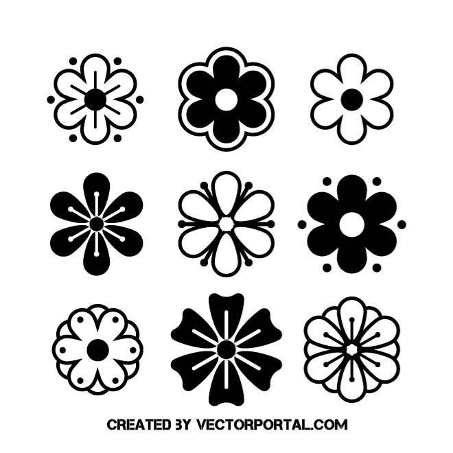 Black And White Flowers Black And White Flowers Vector Flowers Trendy Flowers