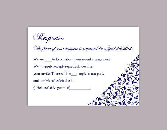 Printable RSVP Cards, DIY Wedding RSVP Template, Navy Blue Rsvp