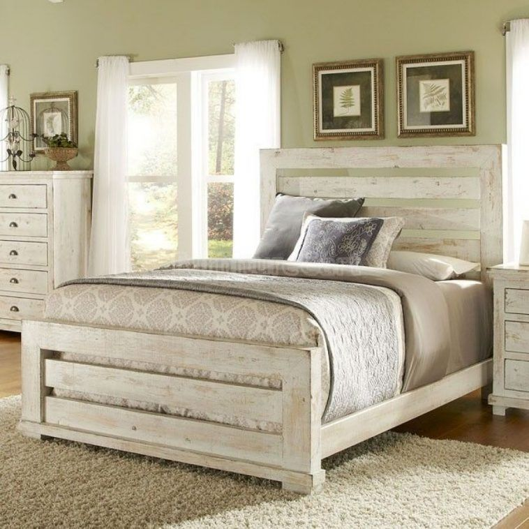 Distressed White Stained Wooden Master Bed With Ladder Headboard