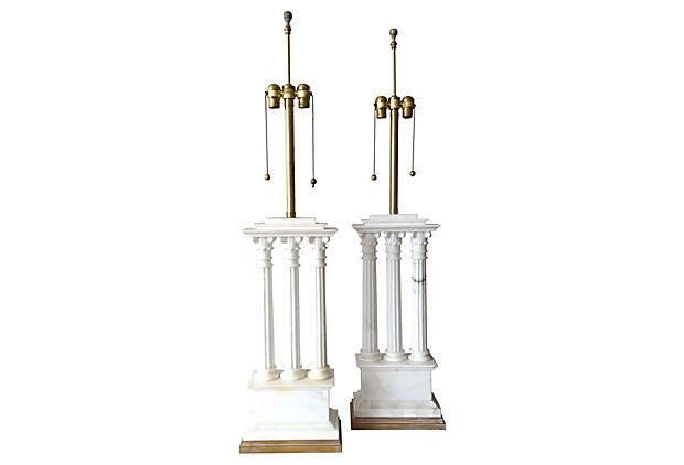 Italian Carrara Marble Columned Lamps - A Pair on Chairish.com