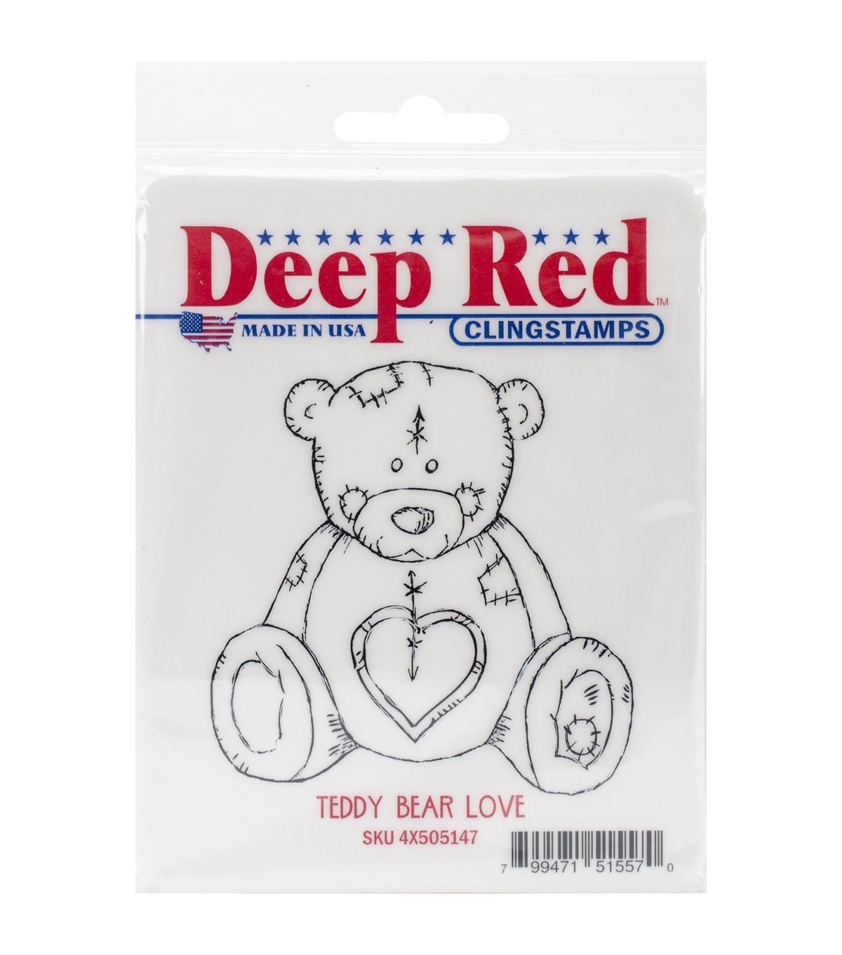 "Deep Red Cling Stamp 3""X3""-Teddy Bear LoveDeep Red Cling Stamp 3""X3""-Teddy Bear Love,"