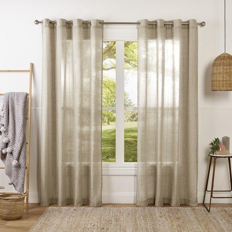 Lucas Sheer Eyelet Curtain Linen 140 X 230 Cm Curtains Sheer
