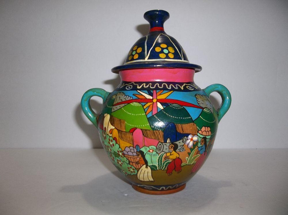 Vintage Mexican Folk Art Pottery JAR Urn Hand Painted