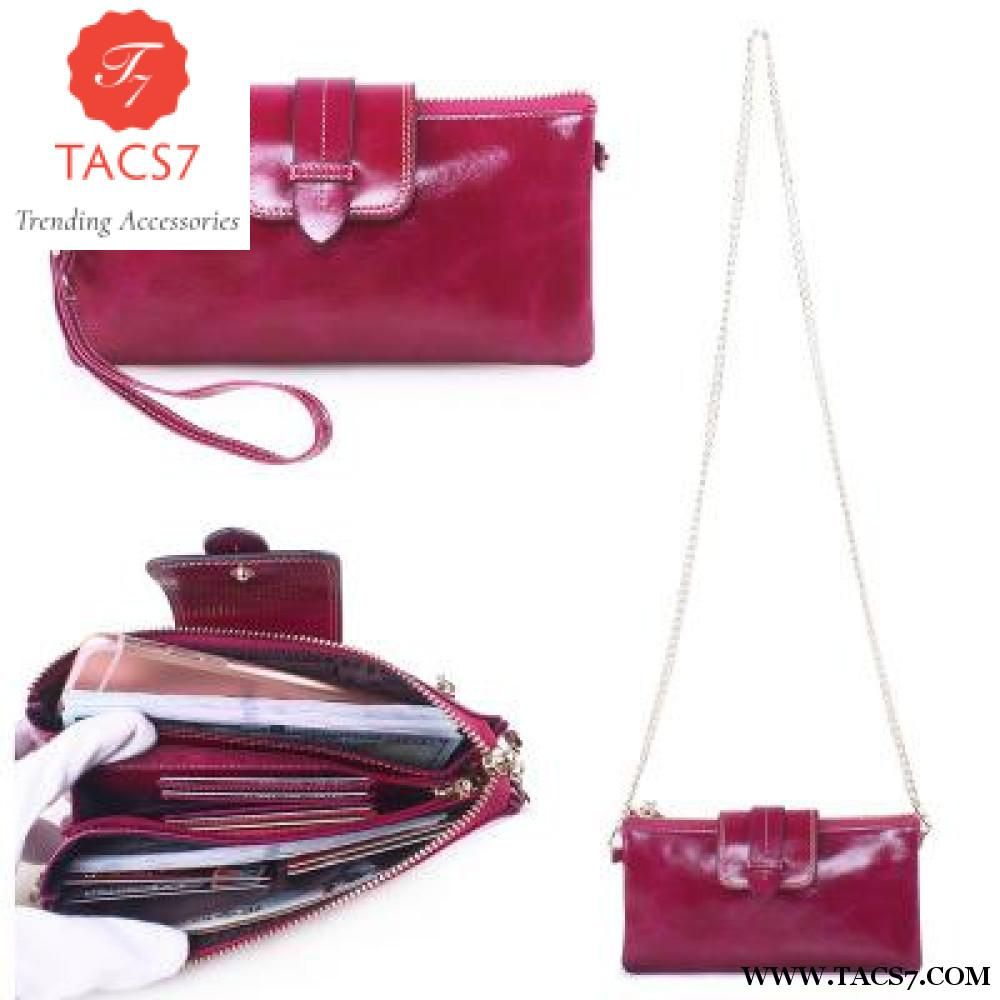 128323e65ce2 2018 Fashion Genuine Leather Women Long Purse Female Zipper Wallet Money  Clips Cards Chain Crossbody Messenger