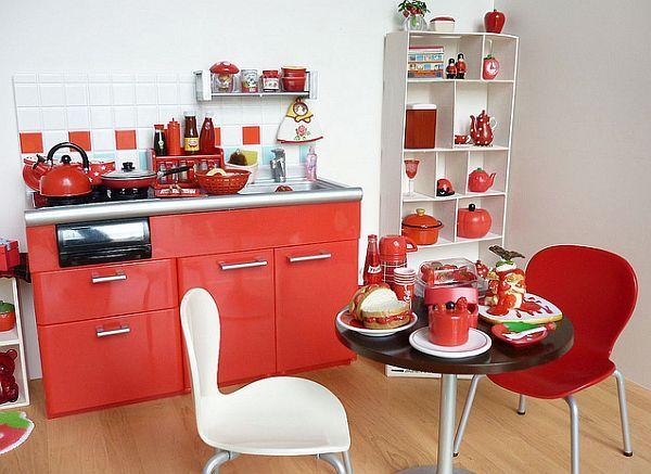 coole rote farbe f r die k che niedliche einrichtung kleine wohnung k che m bel k chen. Black Bedroom Furniture Sets. Home Design Ideas