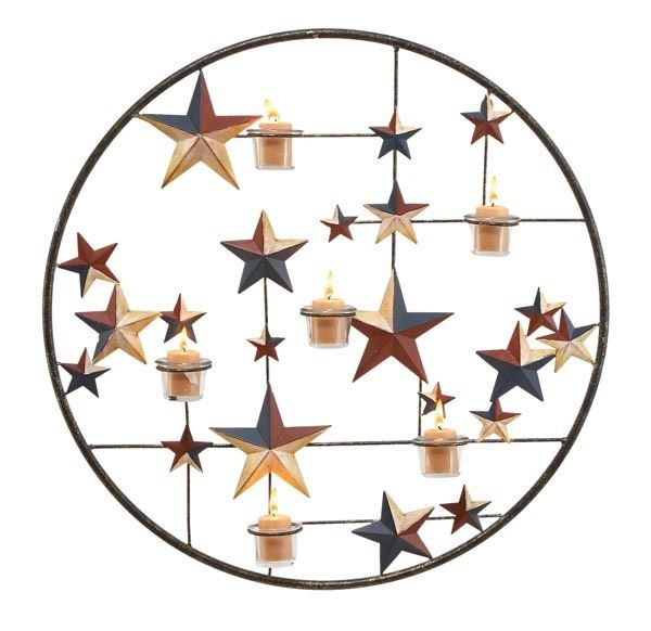 Star Light Bright Barn Metal Wall Candle Holder