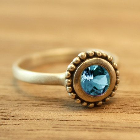 Cosmos Engagement ring with Blue Topaz. by TurtleLoveCoArtisan, $250.00