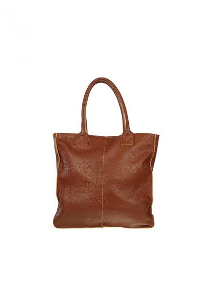 ea2c0b8aafcb5 Bolso shopper piel marron