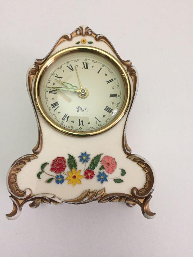 Vintage Reuge Swiss Music Box Wind Up Alarm Clock Germany Plays