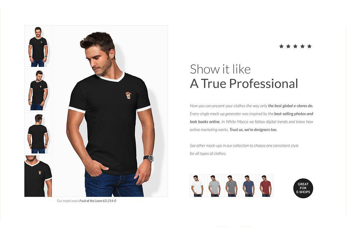 Download Men Vneck T Shirt Mock Ups Free Demo Mocking Selling Photos Simply Casual