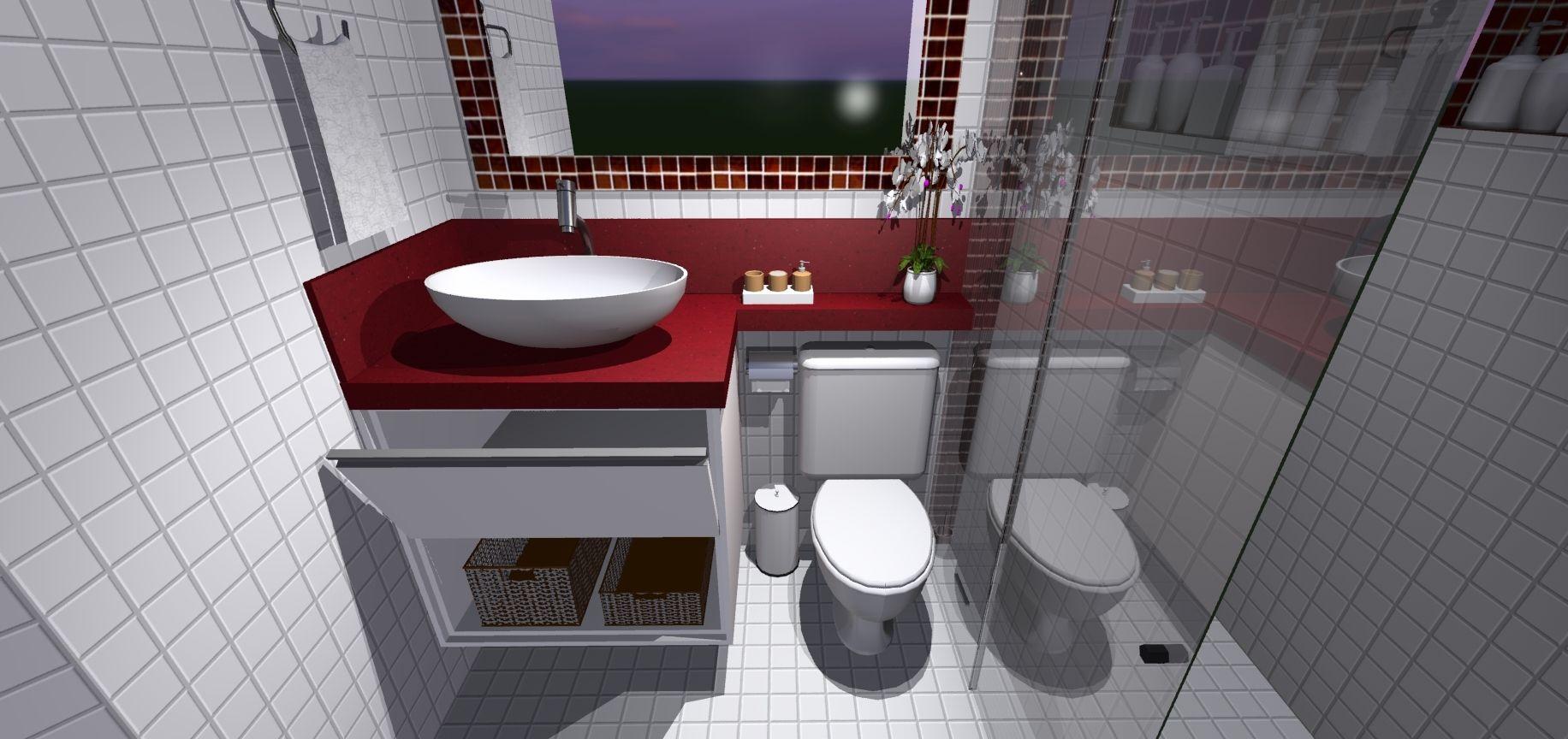 Dormitorio  Galeria de Projetos Promob  lavabos  Pinterest  Banheiro pequ -> Projeto De Banheiro Muito Pequeno