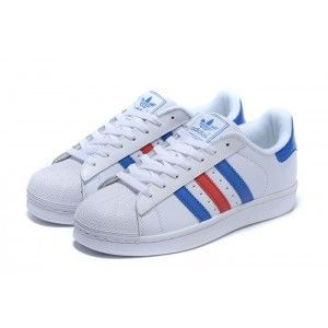 online retailer 60437 68bdf adidas Women Originals Superstar White Red Blue Sneakers Shoes Sale