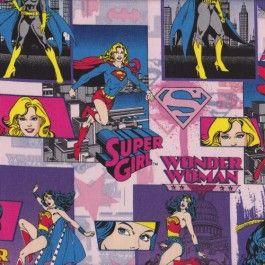 Wonder Woman Batgirl Licensed Quilt Fabric From Sarah J Home Decor