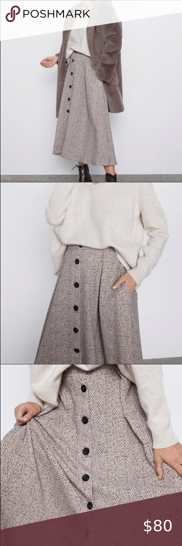 Photo of Zara herringbone skirt with buttons! New XS Zara herringbone skirt with buttons!…