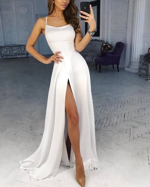 Customize Cheap White A Line Prom Dress Spaghetti Straps Boat Neck High Split Custom Evening Dresses Party Formal Gowns
