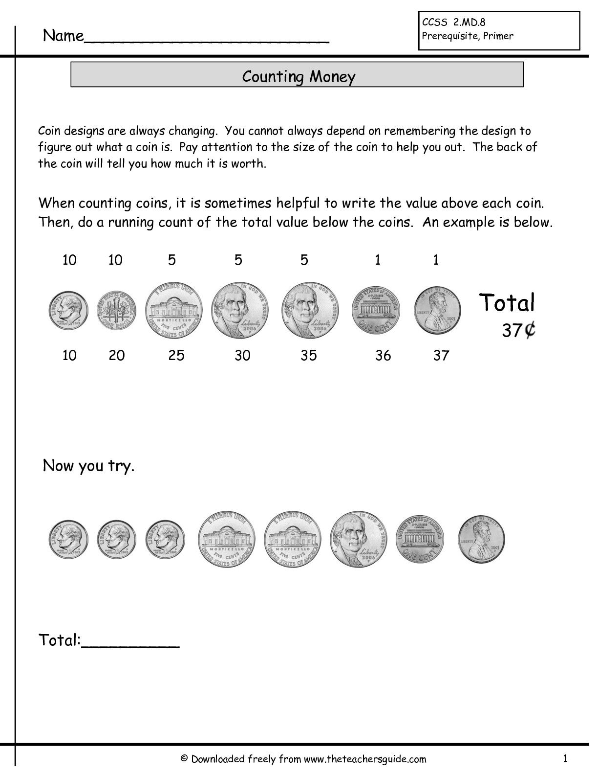 Counting Coins Worksheets From The Teacher S Guide Counting Coins Worksheet Counting Money Worksheets Money Worksheets